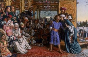 Holman Hunt's Painting of the child Jesus debating the interpretation of the scripture with learned rabbis